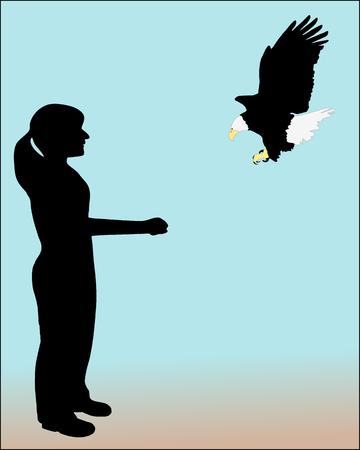 wingspan: Woman and bald eagle
