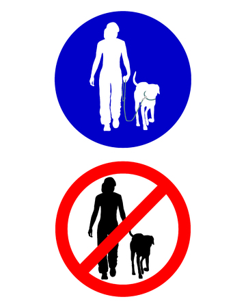 Traffic signs for walking with a dog Vector