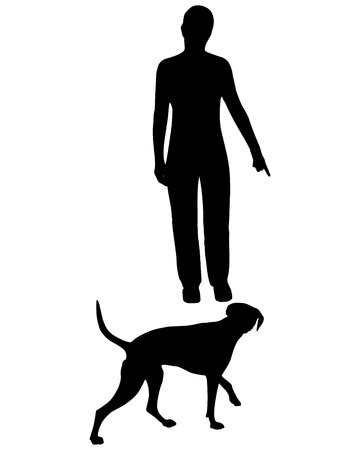 Dog Training (Obedience): Command: Come! 向量圖像