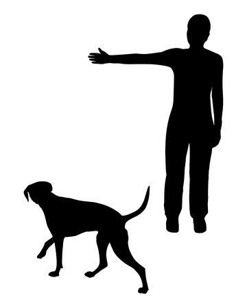 agility people: Dog training (obedience): Command: Go right! Illustration