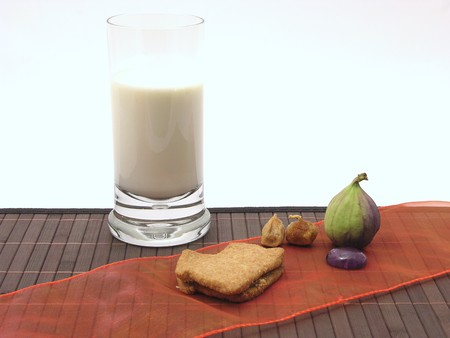 glas: Selfmade christmas pastry with a glas of milk