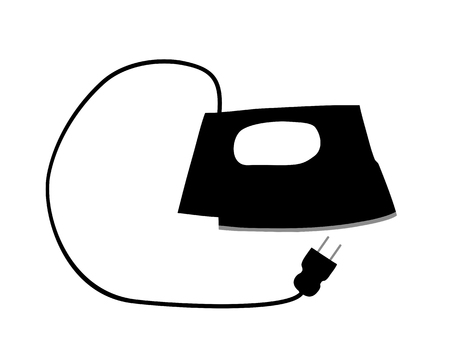 electric iron: The black silhouette of an electric iron Illustration