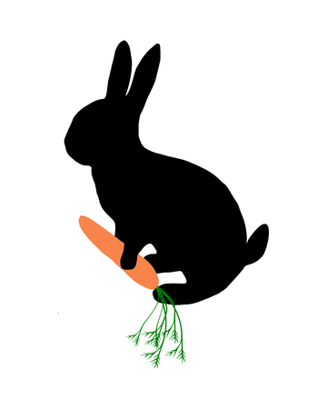 cony: The black silhouette of a bunny with carrot on white