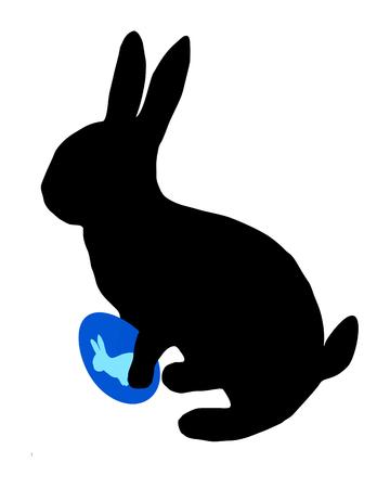 silhouette lapin: La silhouette noire d'un lapin de Pâques avec des oeufs de Pâques Illustration
