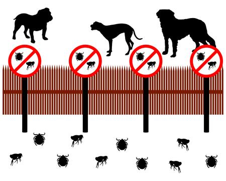 dog bite: Cani dietro una recinzione di protezione contro le zecche e pulci