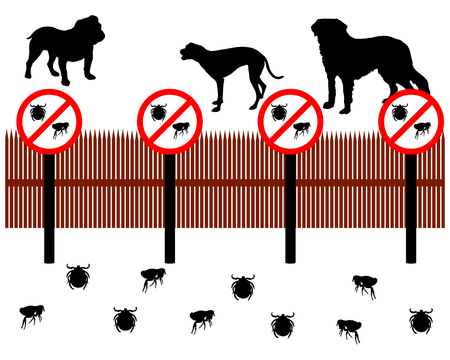 Dogs behind a fence to protect against ticks and fleas Vector