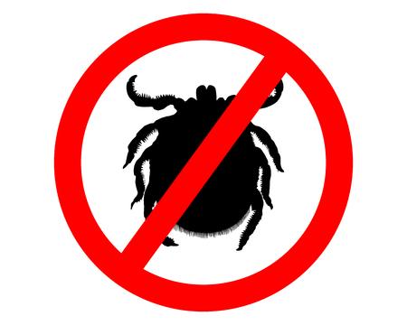 Prohibition sign for  ticks on white background