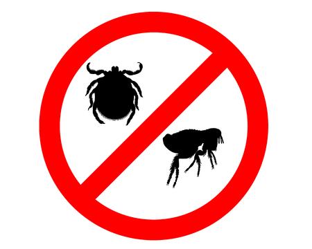 tick: Se�al de prohibici�n de las pulgas y garrapatas en el fondo blanco