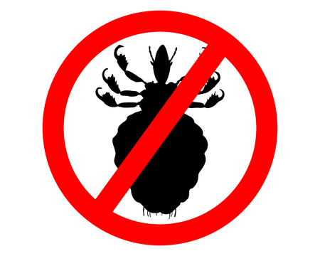 Prohibition sign for lice on white background Illustration
