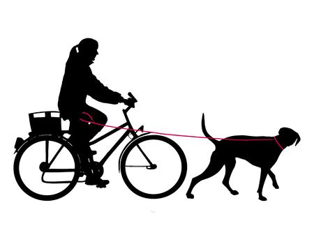 Donna in bicicletta, con cane al guinzaglio Archivio Fotografico - 5198200