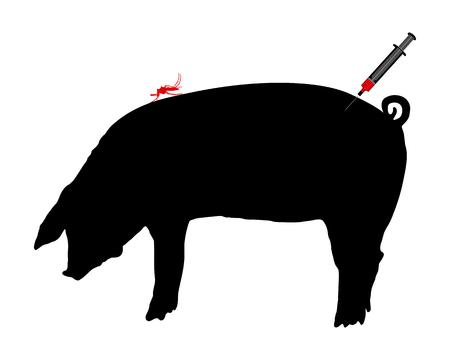 Pig gets an immunization against diseases of midge bites Stock Vector - 5198205