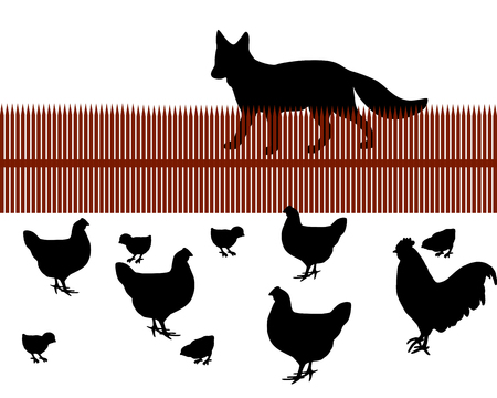 Fox behind a fence looking for chicken as food Stock Vector - 5257980