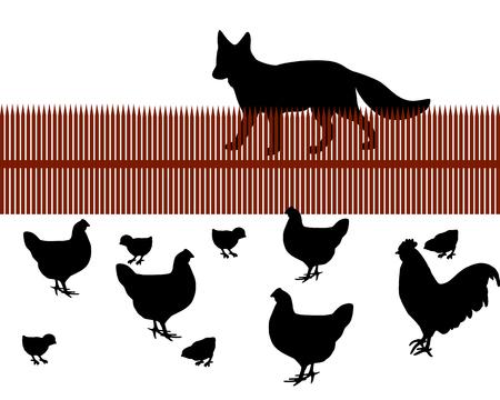 poult: Fox detr�s de una valla en busca de alimentos como pollo Vectores