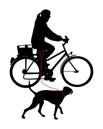 Woman on bicycle with dog on leash Vector