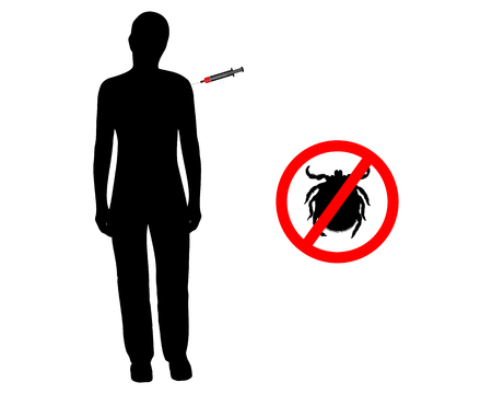 flu shot: Black silhouette of woman gets an immunization against ticks Illustration