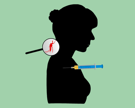 Black silhouette of woman gets an immunization Vector