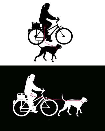 Women on bicycle with dogs on leash Vector