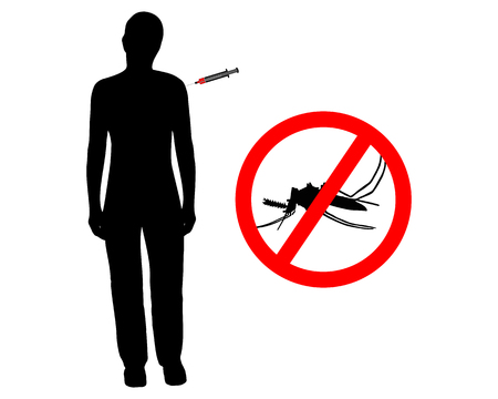 anopheles: Black silhouette of woman gets an immunization