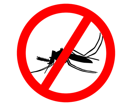 gnat: Prohibition sign for mosquitos on white background