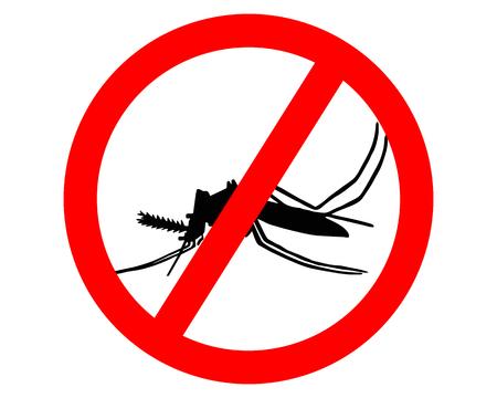 Segnale di divieto per le zanzare su sfondo bianco Archivio Fotografico - 5271245