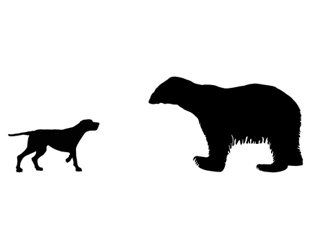Two animals, setter and ice bear meet face to face Vector