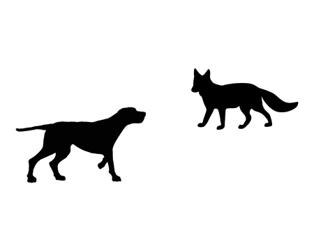 Two animals, setter and fox meet face to face Illustration