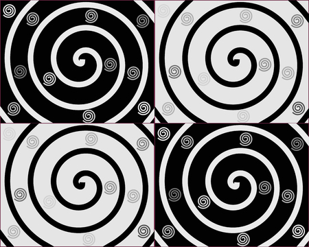abstractly: Details of spirals on black and white backgrounds