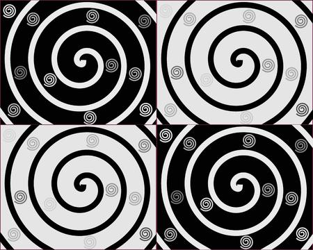 spiral: Details van de spiralen op zwarte en witte achtergronden