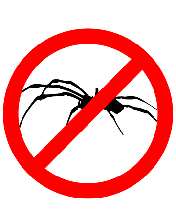 arachnida: The illustration of a prohibition sign for spiders Illustration