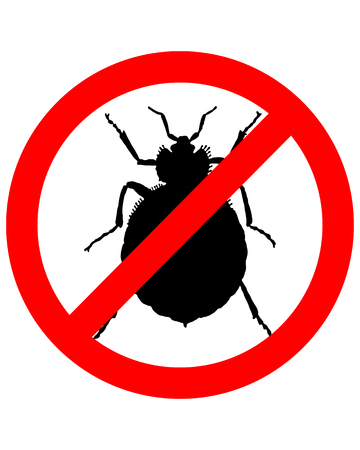 Prohibition sign for bedbugs on white background Vettoriali