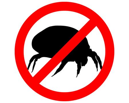 L'illustrazione di un segnale di divieto per gli acari della polvere di casa Archivio Fotografico - 5424983