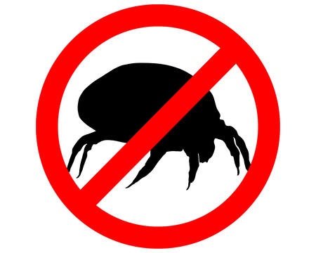 mite: The illustration of a prohibition sign for house dust mites