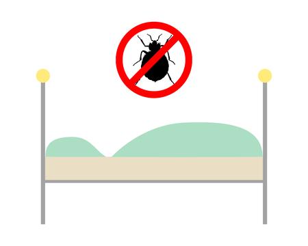 Prohibition sign for bedbugs above a bed Illustration