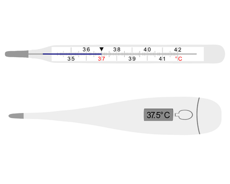 flu immunization: analog and digital clinical thermometers on white background