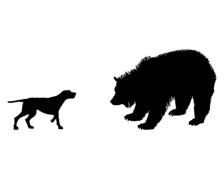 Two animals, setter and grizzly bear meet face to face Vector
