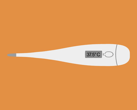 clinical thermometer: digital clinical thermometer on orange background Illustration