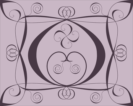 Design background with hearts and spirals on lilac Vector