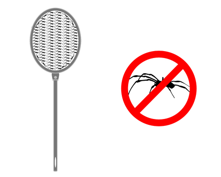 arachnida: Spider swat with prohibition sign for spiders