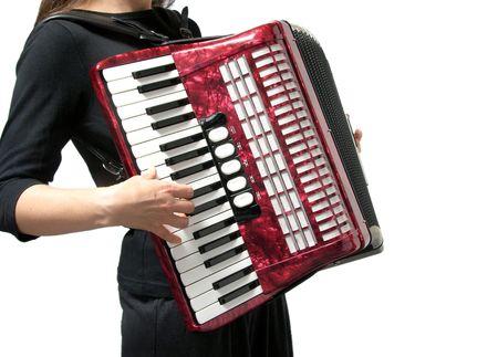 Knipsel met een vrouw accordeon spelen op wit