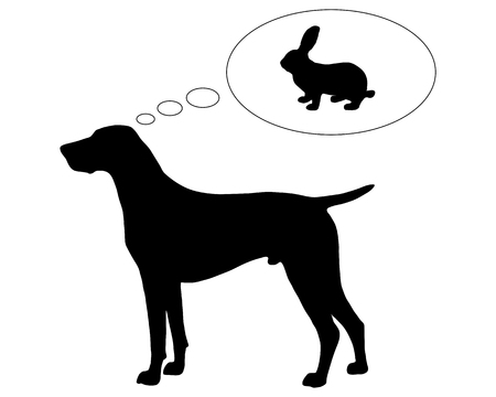 pointer dog: The black silhouette of a German Shorthaired Pointer dreaming of a bunny Illustration