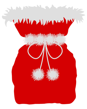 pompon: Red St Nicholas bag on white background Illustration