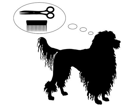 はさみそして櫛のポルトガル水犬の夢  イラスト・ベクター素材