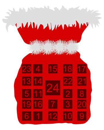 advent calendar: Red St Nicholas bag with Advent calendar Illustration