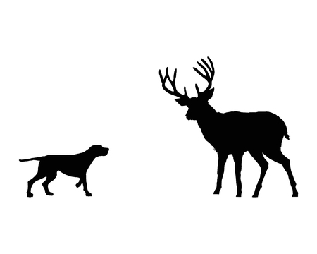 Two animals, setter and deer meet face to face Illustration