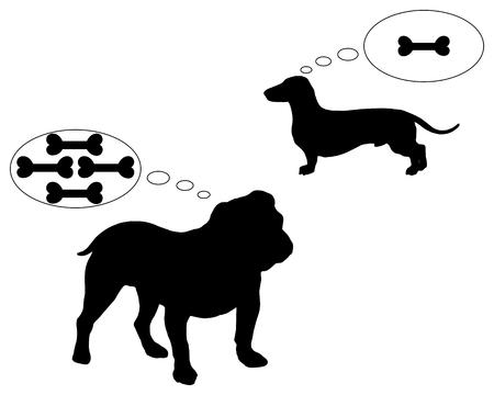 english bulldog: English bulldog and dachshund dream of bones