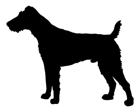 terriers: The black silhouette of a Fox Terrier
