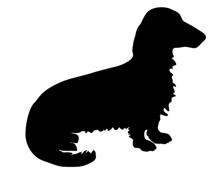 The black silhouette of a longhaired Badger Dog Vector