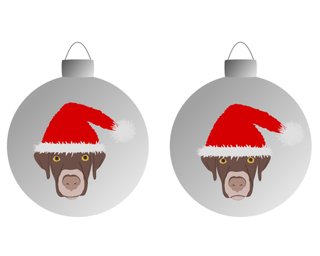 pompon: Laughing dog with red santa claus caps on christmas bauble