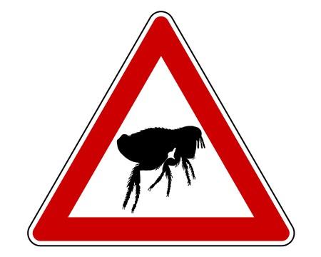 the bloodsucker: Flea warning sign Stock Photo