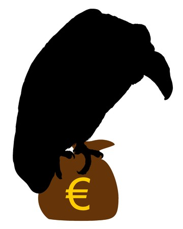 moneybag: Vulture with moneybag  Stock Photo